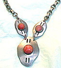 Vintage Book Chain Coral Peking Art Glass Necklace