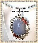 Signed Sterling Silver Blue Chalcedony Necklace Collar